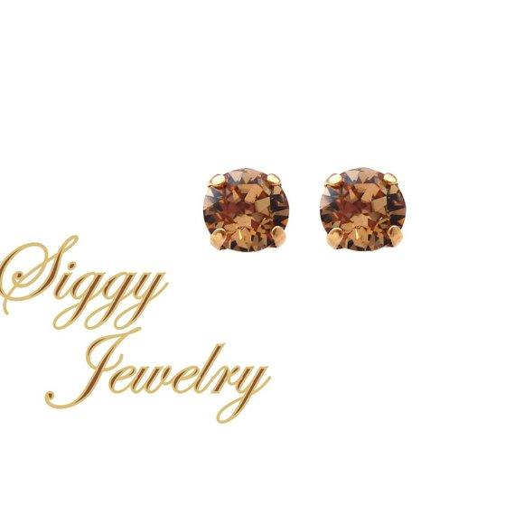 Siggy Jewelry Jewelry - Swarovski Light Colorado Topaz Studs, 8mm